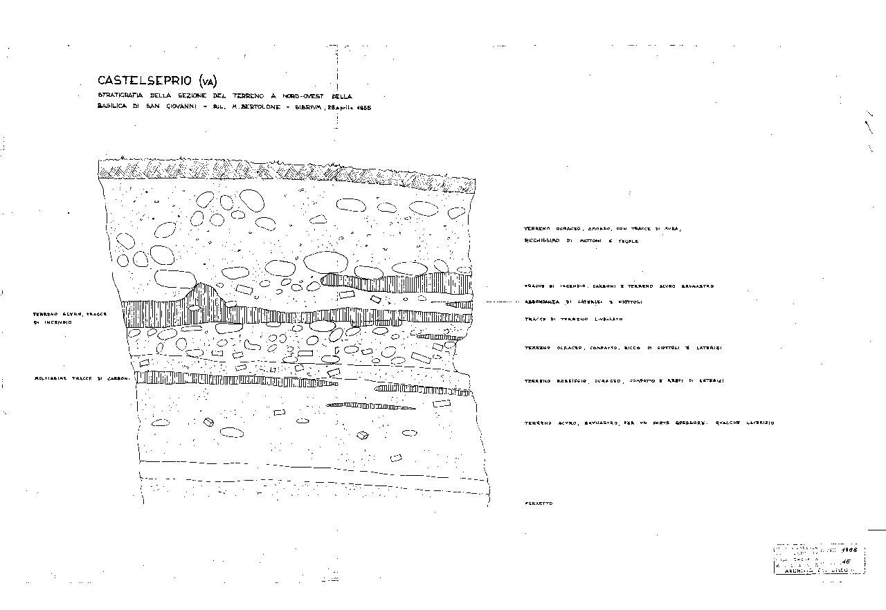 Sezione saggi area nord-ovest San Giovanni - 1955