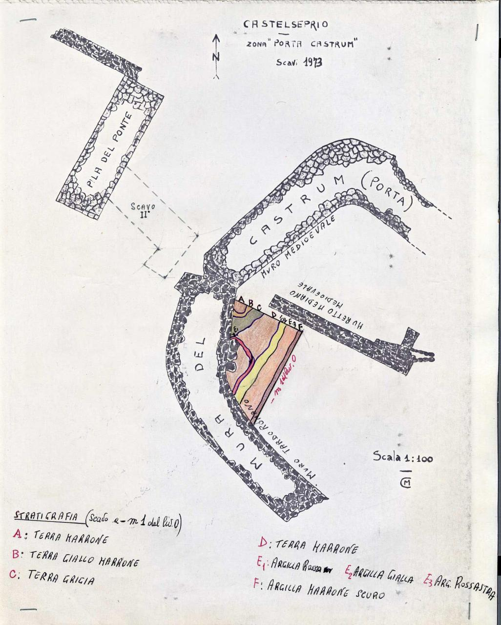 Rilievo della porta del Castrum - Sironi 1973