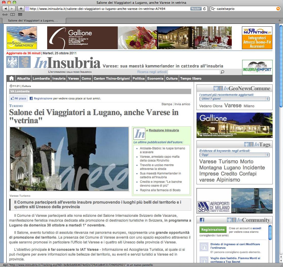 """Salone dei Viaggiatori a Lugano, anche Varese in """"vetrina"""""""